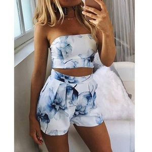 Blue Watercolor two piece Top & Shorts Skorts set